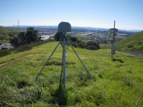 View to the south of EarthScope Plate Boundary Observatory GPS site, P261 (Hunter Hill CN2004 P.S.) showing the antenna and instrument box in February of 2015. This is one of the closest PBO sites to the 2014 South Napa earthquake. Photograph courtesy of UNAVCO; photo taken by Doerte Mann.
