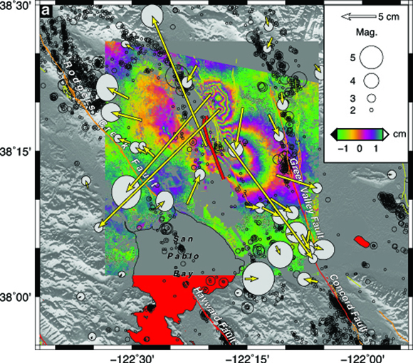 Tectonic map of the epicentral region showing pre-earthquake seismicity [Waldhauser, 2009] (black circles), mapped surface rupture of the South Napa earthquake [Morelan et al., 2015] (thick red line), horizontal coseismic GPS displacements (yellow vectors) with 95% confidence ellipses, and line-of-sight InSAR displacements (color map). Figure courtesy of Mike Floyd.