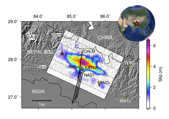 Slip inversion results from the moment magnitude 7.8 Gorkha earthquake. The red star is the hypocenter. Dashed contours are depths to the fault (labeled on left). Orange diamonds are 5 Hertz continuous GPS stations and white diamonds are low rate (1/30-Hz) GPS stations. GPS stations names are capitilized four-letter labels. The black arrows indicate the cosesimic offsets measured at the sites for sites with more than 10 cm of displacement. Figure courtesy of John Galetzka.