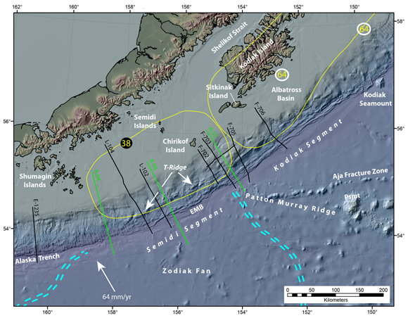 Convergent margin of Alaska showing aftershock areas,regional seismic lines, and geographic features. Black circles represented high magnitude earthquake epicenters; the white circles off Kodiak show two asperities associated with the 1964 earthquake [Ichinoise et al.,2007]. Aftershock areas for the 1938 and 1964 earthquakes are circled with yellow lines.  Lines beginning with E were bathymetric data acquired using Research Vessel Ewing. Legacy USGS seismic lines identified with L or F (http//walrus.wr.usgs.gov). Green lines were acquired during the ALEUT project. Blue double-dashed lines outline the distal flanks of the Zodiak Fan. EMB is the embayment into the Semidi deformation front and T-Ridge is the escarpment above the splay fault zone. Figure courtesy of Peter Dartnell.