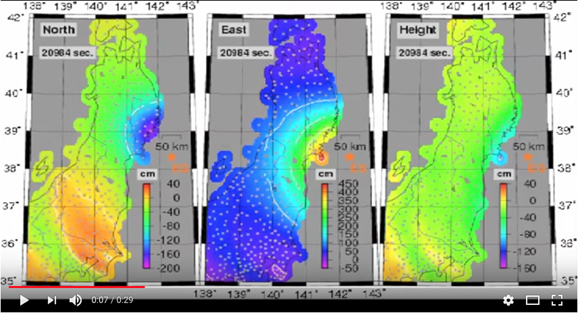 Screen capture of a movie of ground motion measurements for the Tohoku-Oki earthquake, recorded by about 1200 GEONET GPS/GNSS ground stations (gray dots) in Japan. Only the northern part of Honshu is shown in the 3 panels. The epicenter is most visible in the central panel, the red-orange bulls eye just offshore. A color scale bar in the lower right of each panel, shows the amount of displacement in centimeters. The full movie is available here: https://www.youtube.com/watch?v=1HONU8jlBuU