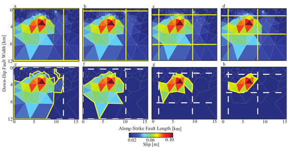 Examples illustrating how we extract spatial descriptors (along-strike length, down-dip width, and fault-slip area) from geodetic slip distributions. This example is from the 23 August 2011 Mw 5.3 Trinidad, Colorado, earthquake (Barnhart et al., 2014). Panels (a–d) highlight the differences in retrieved length and width (marked by solid lines) from our different slip thresholds: (a) slip within 85 percent of peak slip, (b) largest possible slip area, (c) moderate slip area, and (d) minimum slip area. Panels (e–h) highlight the differences in retrieved fault area (marked by solid polygons), based on the same slip threshold criteria in panels a–d. The dashed lines in (e–h) indicate the equivalent slip areas from previous studies. Figure is courtesy of the author, Clayton Brengman.