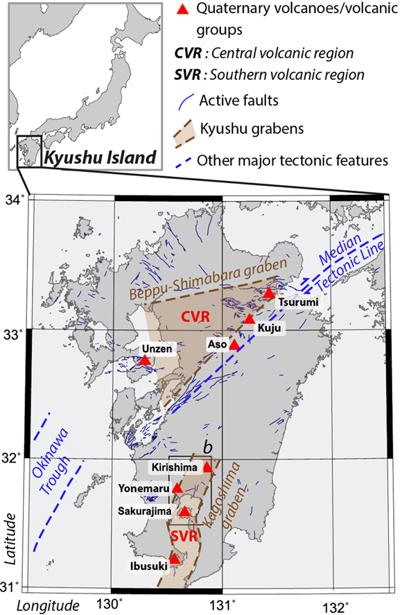 Volcano-tectonic map of Kyushu Island showing Quaternary volcanoes (red triangles) organized in two groups (CVR and SVR) linked to the presence of active grabens. Inset: Location of Kyushu Island in Japan. Figure is courtesy of the author, E. Brothelande.
