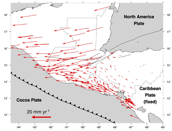 GPS site velocities relative to the Caribbean Plate corrected for coseismic offsets and transient afterslip from the 2009 Swan Islands earthquake and the 2012 El Salvador and southern Guatemala earthquakes (Ellis et al. 2018). Error ellipses omitted for clarity. Figure is courtesy of the author, A. Ellis