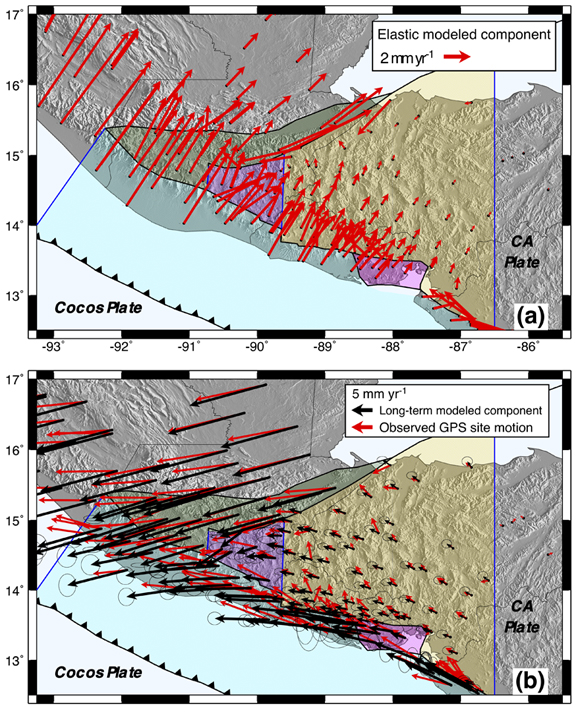 Interseismic elastic (a) and long-term (b) velocity components of motion estimated with the preferred TDEFNODE model at each GPS site. The interseismic velocity component shows the summed elastic deformation at each GPS site for the fully or partially locked fault nodes in Fig. 7(a). The modelled (black) long-term site velocity component is due to the estimated rotation and internal distributed deformation of each site's plate or block. The velocities in (b) are relative to a stationary Caribbean plate. Figure is courtesy of the author, A. Ellis