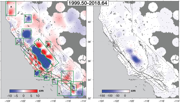 Accumulated vertical displacement field between 1999.5 and 2018.6, represented with 2 different color scales. Figure is courtesy of the author, Emilie Klein.