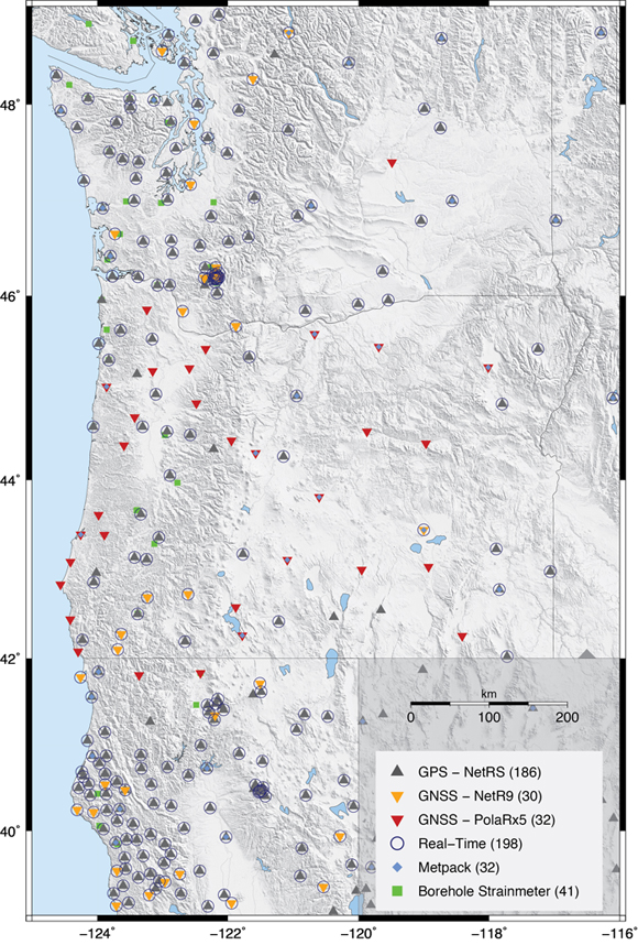 Map of GNSS sites in northern California and the Pacific Northwest that are operated and maintained by UNAVCO through support of the National Science Foundation (GAGE Award) with additional support from NASA and USGS. The sites in the open circles are real time (streaming data 24/7) and can be used for hazard warnings. The latest results of Melgar and Hayes could take advantage of observations from these realtime GNSS sites for any large magnitude event,especially a large earthquake associated with the Cascadia Subduction Zone. Map is courtesty of UNAVCO.