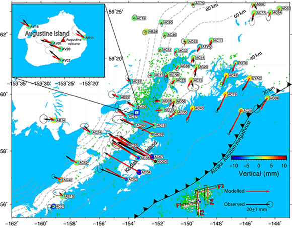 Observed and predicted 3D coseismic displacements due to the Gulf of Alaska earthquake. The error ellipses represent 95 percent confidence. The predicted displacements of the best-fitting finite slip model are shown by red vectors. The large colored circles represent the observed vertical displacements, while small ones are predictions. Dashed gray lines depict the interface depths from the Slab1.0, Hayes et al., 2012. Green dots are aftershocks that occurred within two months after the earthquake from the U.S. Geological Survey, and white ones are the relocated aftershocks after Ruppert et al. 2018. Four rectangles show map view of the fault geometries used in the inversions, F1, F2, F3, and F4, with red lines showing shallow edges. Inset shows the coseismic deformation on Augustine Island, where the Augustine Volcano erupted in 2006, Cervelli et al., 2006. Figure is courtesy of the author, Bin Zhao.