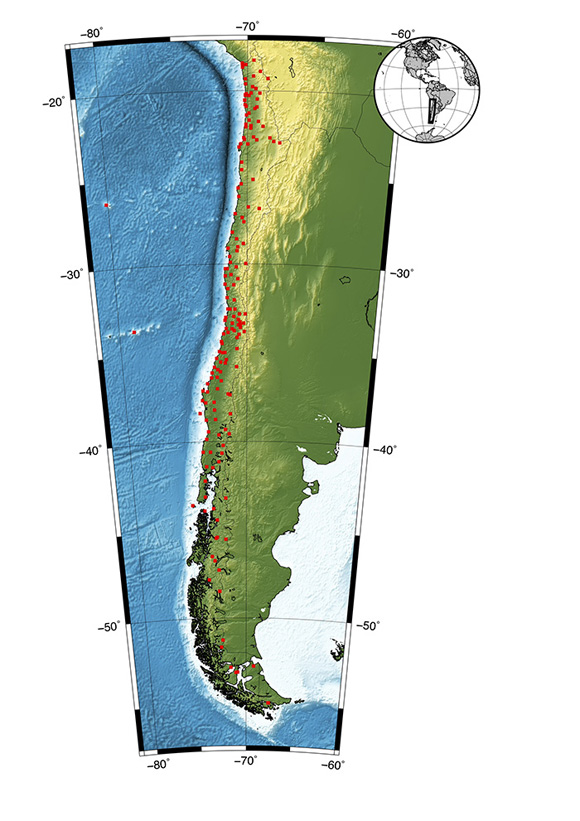Map showing the distribution of Global Navigation Satellite Systems stations as red squares in Chile. The inset shows the location of the study region in South America. Map is courtesy of the author, Juan Baez.