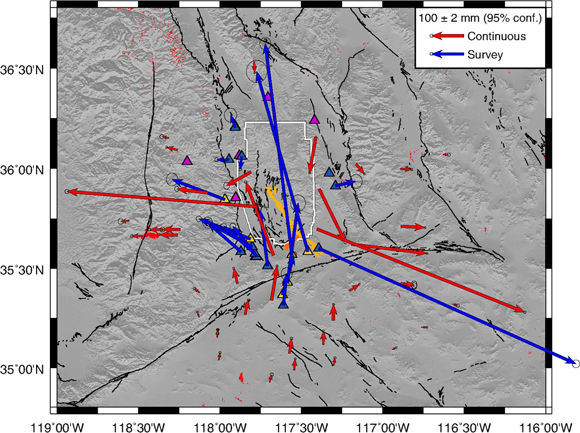 Cumulative displacements from the two earthquakes combined. Red vectors are for continuous sites and blue are for temporary survey sites. Light blue triangles show the five survey sites occupied by University of California, Riverside after the Mw 6.4 earthquake and hence during the Mw 7.1 earthquake. The surface rupture of the Mw 6.4 is marked by the orange line, C. Milliner, personal comm., 2019, the light orange is the rupture of the Mw 7.1 and the white line is the boundary of the Naval Air Weapons Station. Gold triangles are sites occupied by Scripps Institution of Oceanography/University of California, San Diego after the Mw 7.1 earthquake and therefore do not have coseismic displacement estimates for the second earthquake separately from the first; purple triangles are semi-continuous sites occupied by Nevada Geodetic Laboratory/University of Nevada, Reno.  Figure is courtesy of the author M. Floyd.