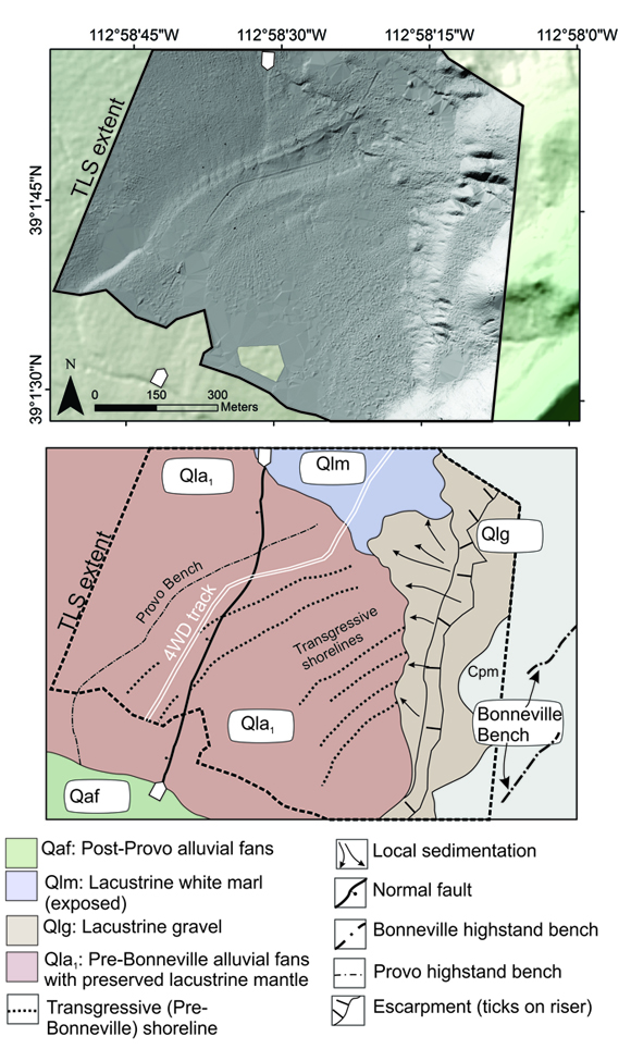 Terrestrial lidar scanning, TLS survey, top and geomorphic map, bottom, of the Cricket Mountains fault. White arrows demarcating the fault trace are shown for reference. 4WD—four wheel drive. Figure is courtesy of the author, T. Stahl.