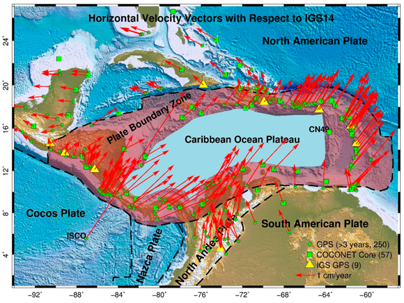 Map showing tectonic plates within the Caribbean region and the plate boundary zones, PBZs, between the Caribbean Ocean Plateau, the stable portion of the Caribbean plate, and its surrounding plates. The horizontal velocity vectors depict the secular plate motions at 250 permanent Global Positioning System, GPS, stations within the Caribbean region with respect to IGS14. The velocities are derived from recent GPS observations between 2012–2018. Figure courtesy of the author G. Wang.