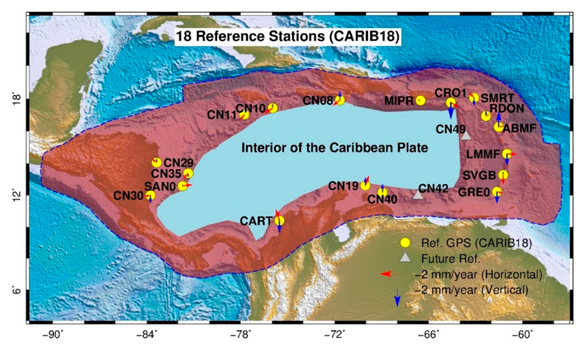 Locations of 18 reference stations for realizing the stable Caribbean reference frame, CARIB18. The horizontal, red, and vertical, blue, velocity vectors are referred to CARIB18. Figure courtesy of the author G. Wang.