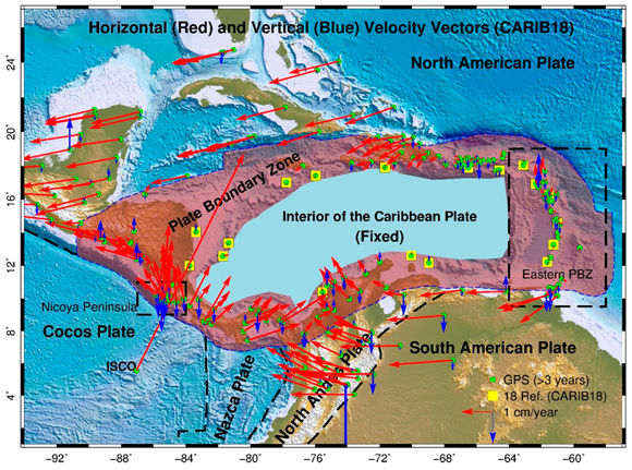 Map showing the horizontal, red, and vertical, blue, velocity vectors at 250 GPS stations with respect to CARIB18. The linearity of the positional time series of GPS stations on the Nicoya Peninsula, northwest of Costa Rica, is affected by the 2012 Nicoya, Costa Rico earthquake, post-seismic deformation, and slow slip events. Only the observations after 2014.5 are used to calculate the site velocities on the Nicoya Peninsula. Figure courtesy of the author G. Wang.