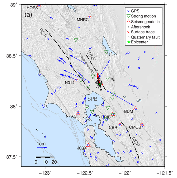 Station distribution used for analysis of the earthquake source. Blue markers and arrows are the GPS stations and coseismic offsets produced from a postprocessed daily analysis of GPS displacements. Green triangles are 14 strong motion stations used for the final slip model. Red triangles are collocated GPS/strong motion stations used for rapid inversion. Also indicated is the surface trace of rupture, the epicenter, and one week of aftershocks. Credit: Diego Melgar.