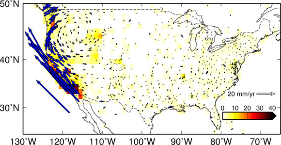 Horizontal velocities from the GPS data analysis for the contiguous United States. The solution is decimated for clarity and only about 15% of the stations are shown, west of 110 degrees in longitude. The background color map shows the station density per square degree. Solution is courtesy of UNAVCO.