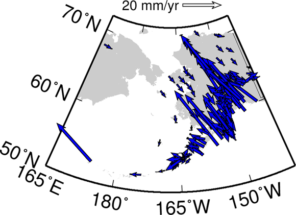 Horizontal velocities from the GPS data analysis for Alaska. Solution is courtesy of UNAVCO.
