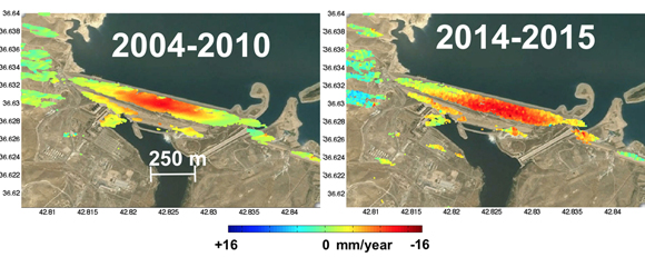 InSAR measured up-down displacement on the Mosul Dam, Iraq. Up or down motion, with negative values indicating downward motion. The data have been resampled on a common grid calculated using the coherence maps from the interferograms (Envisat) and time-series analysis (COSMO-SkyMed-Sentinel-1a). Time-series analysis generated using the SARPROZ Software (http://www.sarproz.com January 26 2016 Version). Map data: Google, CNES/Spot Image, Basarsoft (https://www.google.com/earth/). The figure is courtesy of the author, Pietro Milillo.