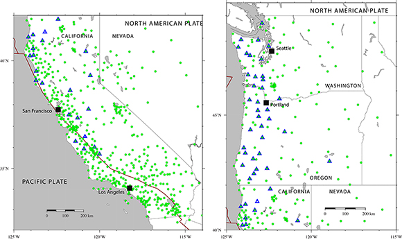 Map showing all of the Plate Boundary Observatory real-time GNSS sites in the ShakeAlert region that are maintained by UNAVCO (green circles). All of the solutions from these sites are available for testing the geodetic earthquake warning algorithms. The blue triangles show sites where the USGS is planning to install seismic instruments, so authorities can gather seismic and geodetic data at the same time and place for ShakeAlert. The figure is courtesy of the author, K. Hodgkinson.