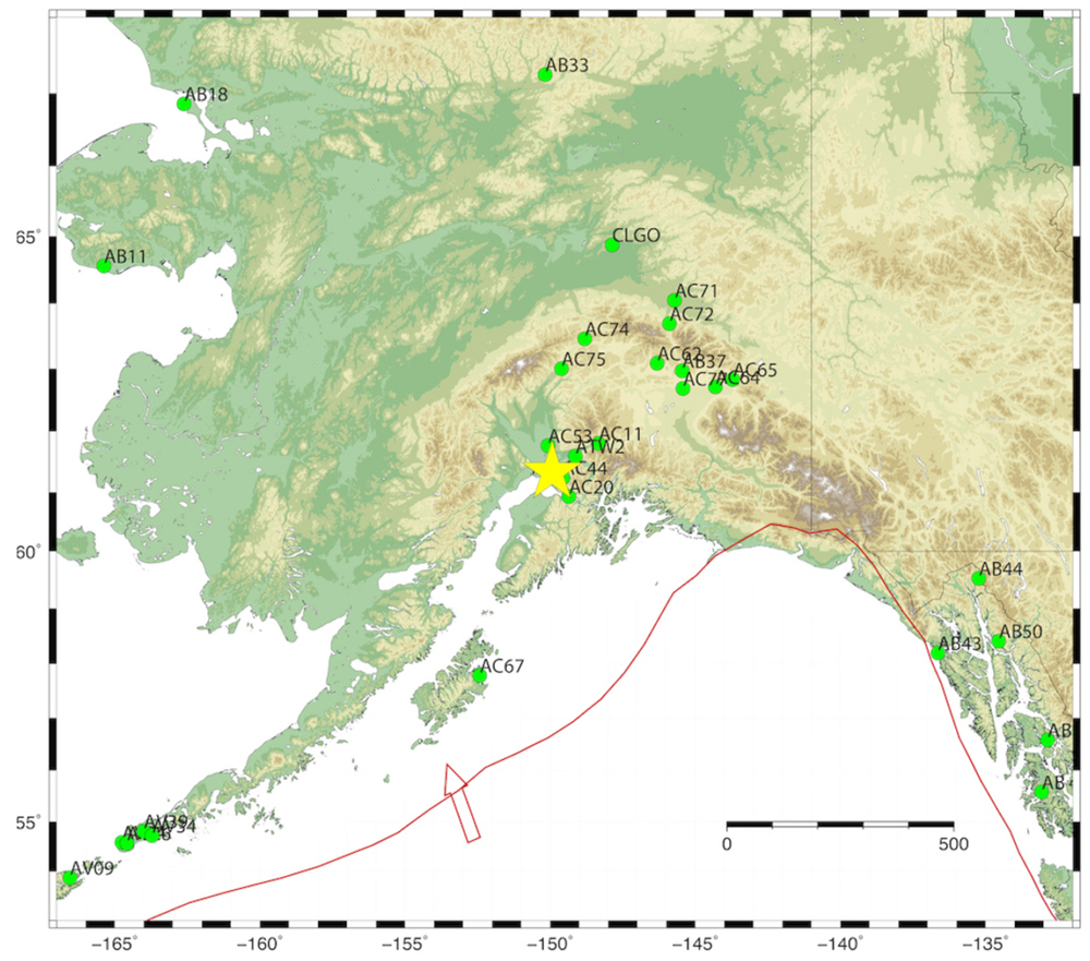 Example of real-time ground displacement time series recorded during the 30 November 2018 Mw 7.1 earthquake, northwest of Anchorage, Alaska. Sites providing real-time data are shown in green triangles and earthquake epicenter is shown in yellow star. Plate boundary depicted by red curve with arrow showing the direction of the subducting Pacific plate. Figure is courtesy of the author, Jessica Murray.