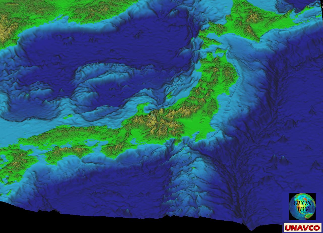Sea Floor Elevation Data : Gallery of unavco idv images software