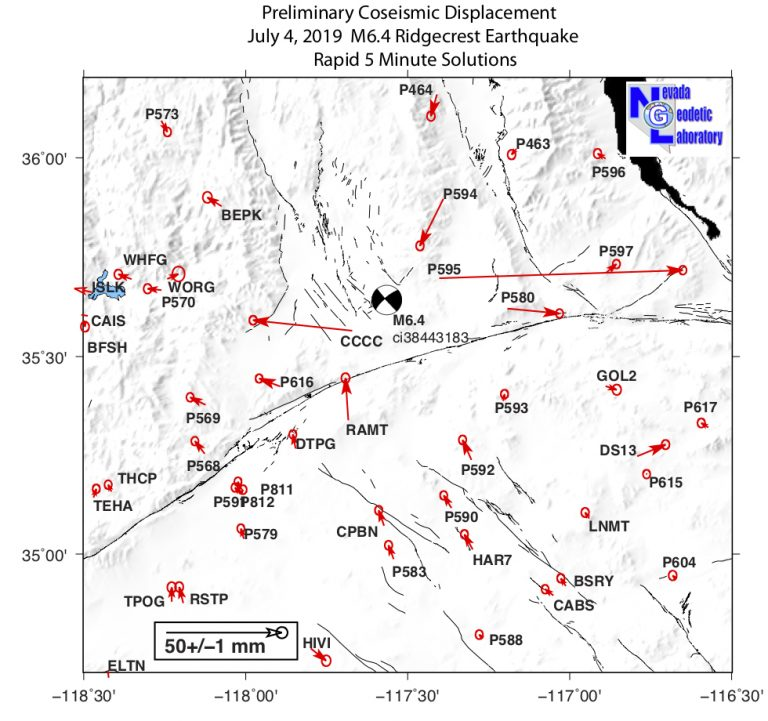 Preliminary coseismic horizontal vector displacements for the 4 July 2019 M 6.4 event