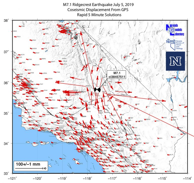 Rapid analysis coseismic offset pattern for the 6 July 2019 M 7.1 event