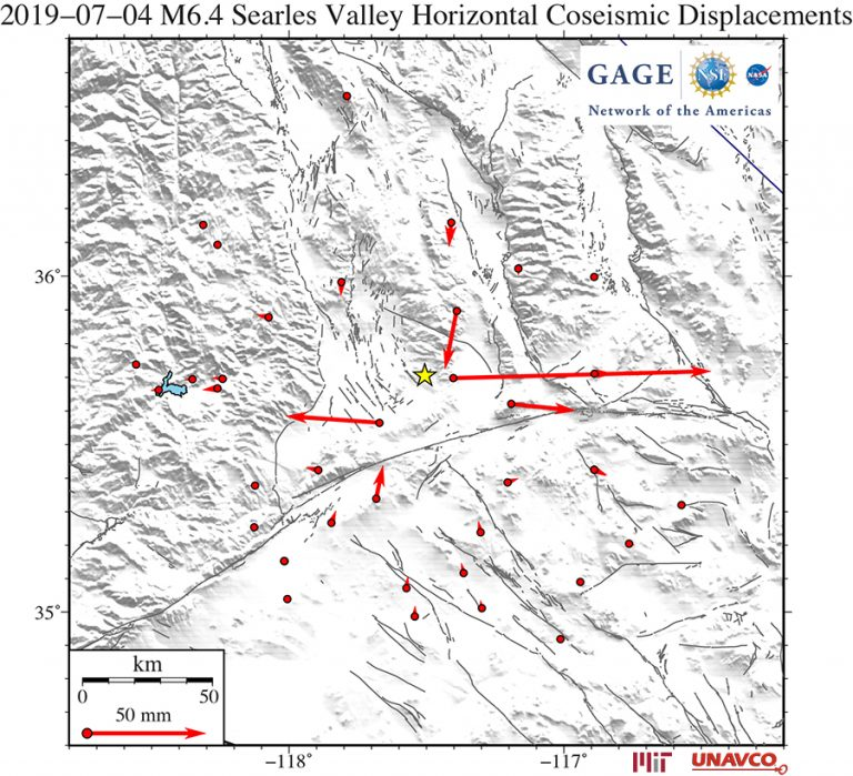 Coseismic horizontal offsets of the 4 July 2019 M6.4 event