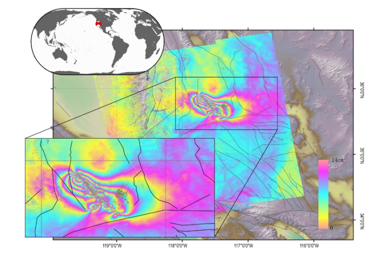 InSAR line-of-sight image of the coseismic displacements