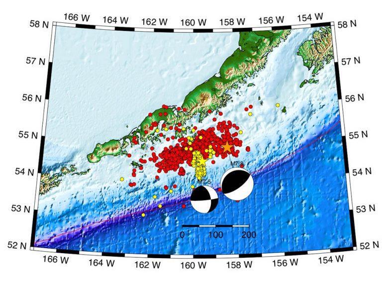 M7.8 Simeonof Alaska epicenter and aftershock locations