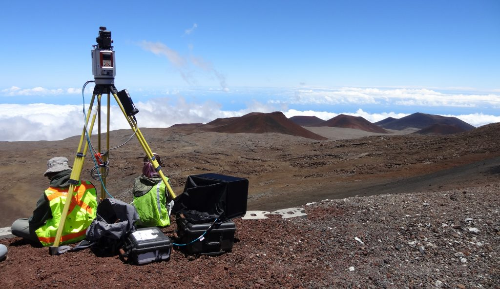 group operating terrestrial laser scanner atop Mauna Kea