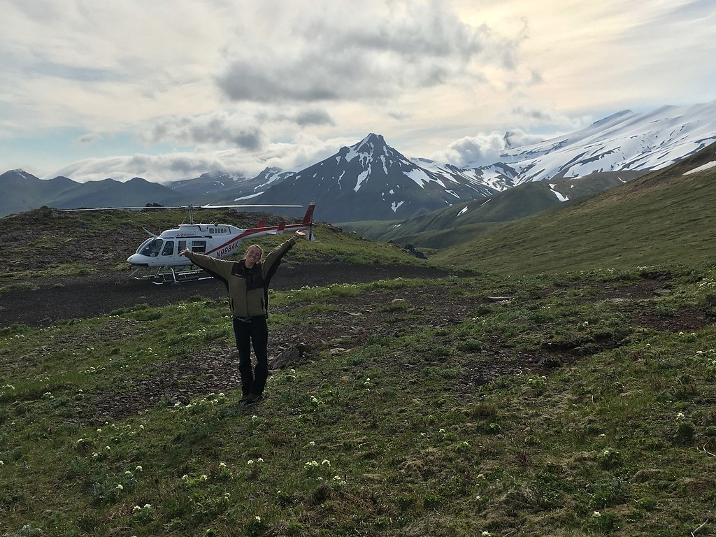 A USIP intern standing in front of a helicopter is Alaska.