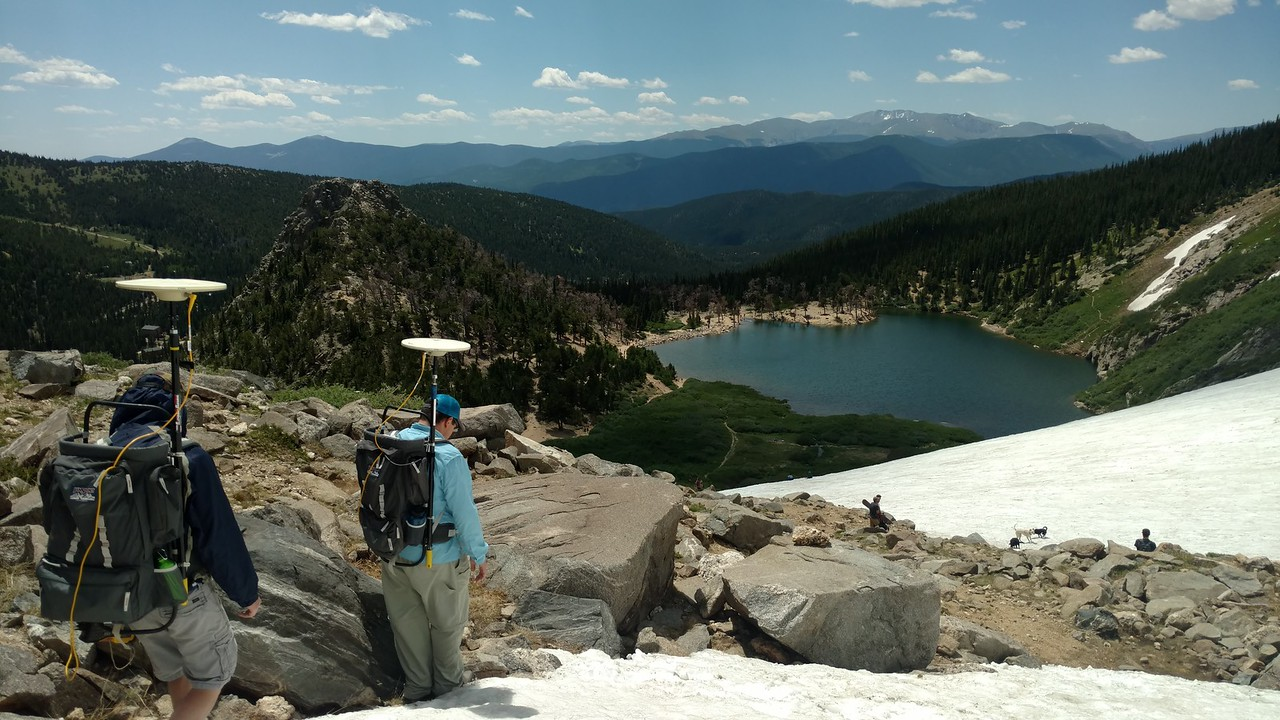 GLP interns hiking St Mary's Glacier with equipment