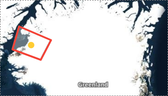 Map of Greenland with red square to indicate area of focus.
