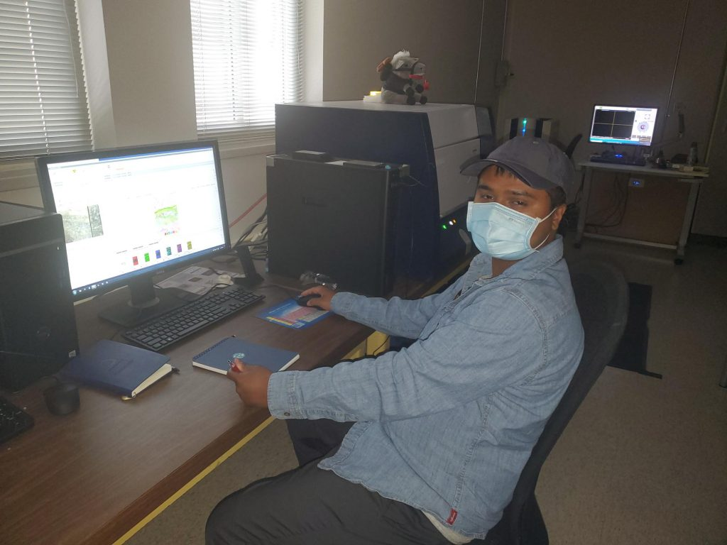 RESESS intern Shams Ahmed looking at a computer with XRF data open.