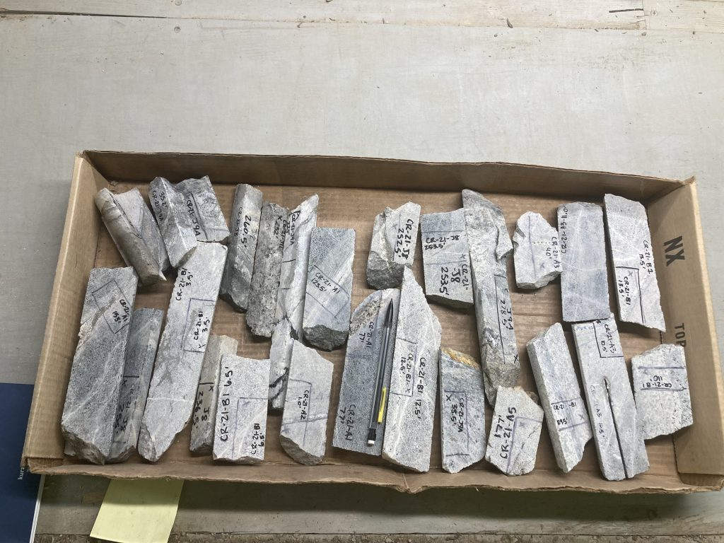Cardboard box with many drill core samples that range from ~7cm to ~25cm.