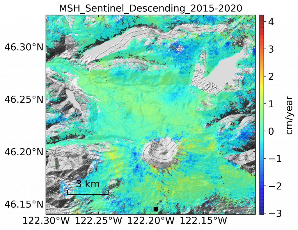 Velocity map over Mt. St. Helens with Sentinel data from 2015-2020. Scale ranges from -3 cm/year to 4 cm/year. Most of the area falls around -1 to 1 cm/year.
