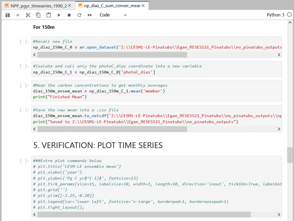 """Snippet of Python code, largest text says """"Verification: Time Plot Series"""""""