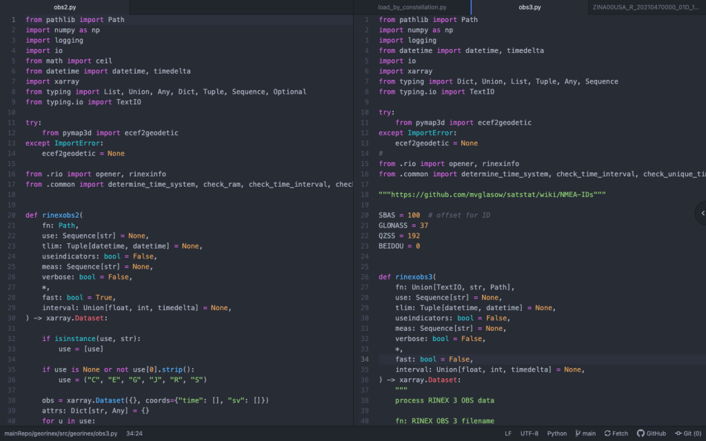 Snippet of code from the GeoRinex package.