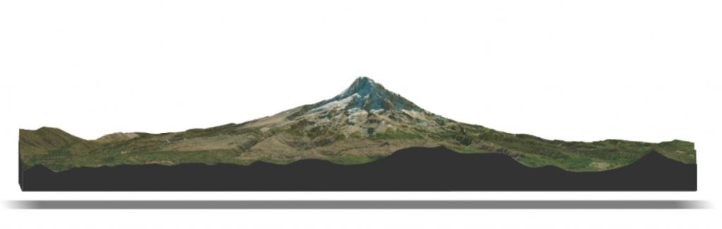 Mount Hood LiDAR and satellite rendering figure.