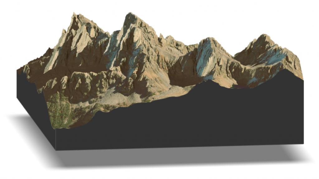 Grand Teton LiDAR and satellite rendering