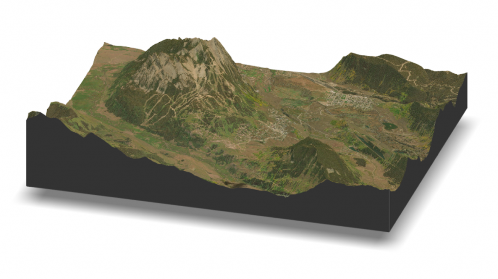 Crested Butte LiDAR and satellite rendering